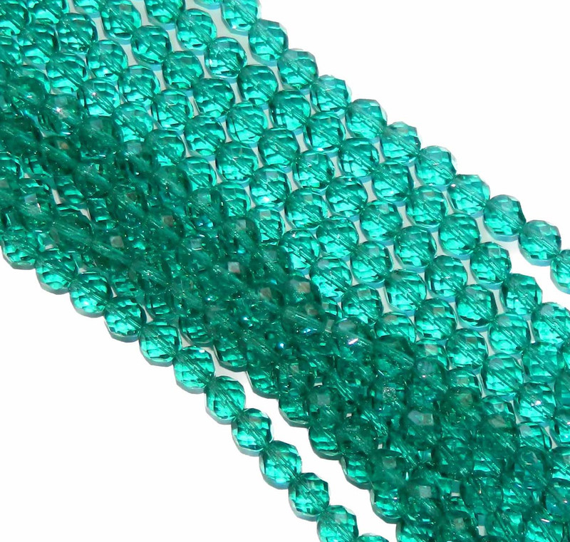 24 Firepolish Faceted Czech Glass Beads 8mm Lt Teal