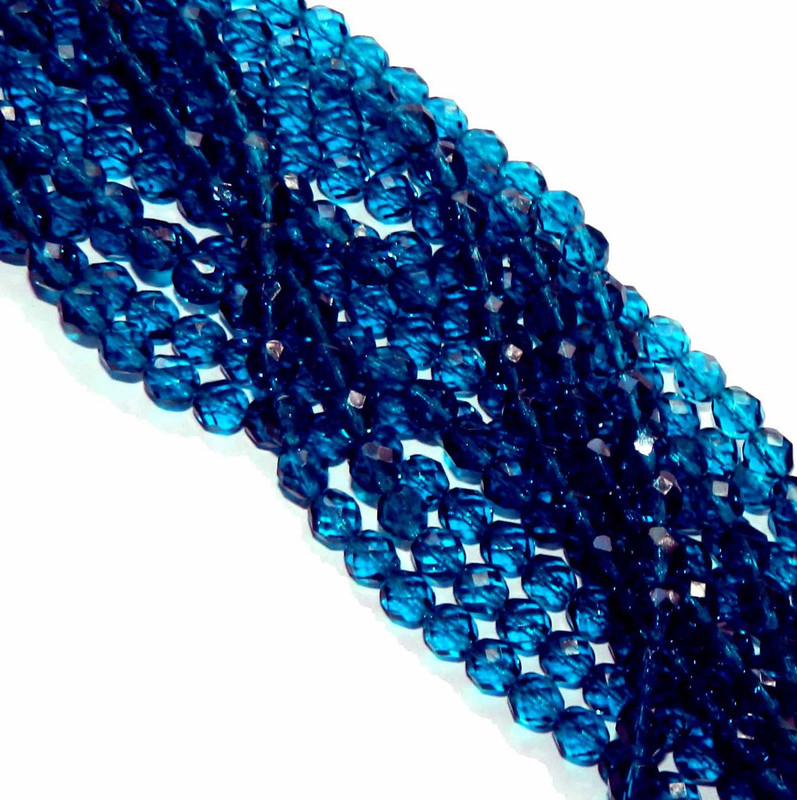 24 Firepolish Faceted Czech Glass Beads 8mm Capri Blue