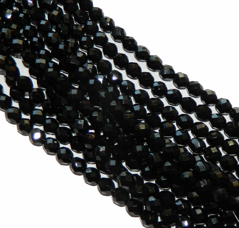 24 Firepolish Faceted Czech Glass Beads 8mm Jet