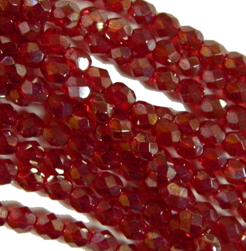 24 Firepolish Faceted Czech Glass Beads 6mm  Luster Ruby