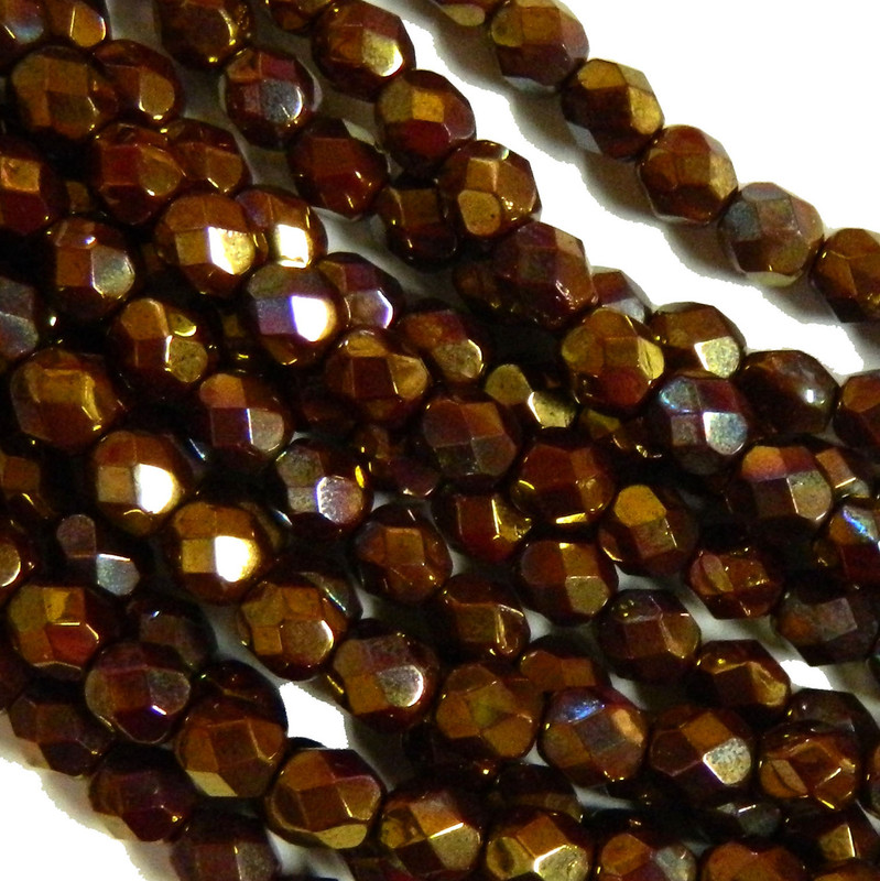 24 Firepolish Faceted Czech Glass Beads 6mm  Bronze Luster Opaque Red