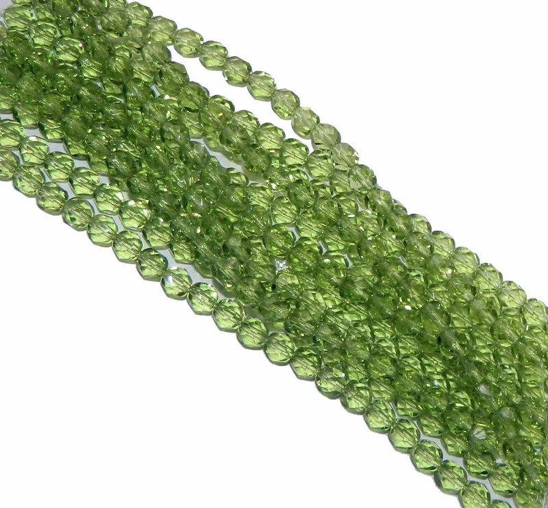 24 Firepolish Faceted Czech Glass Beads 6mm  Prairie Green