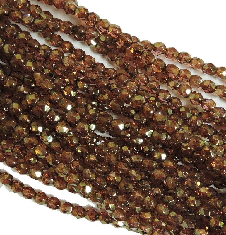 48 Firepolish Faceted Czech Glass Beads  4mm  Luster Rose/Gold Topaz S1-04-65491