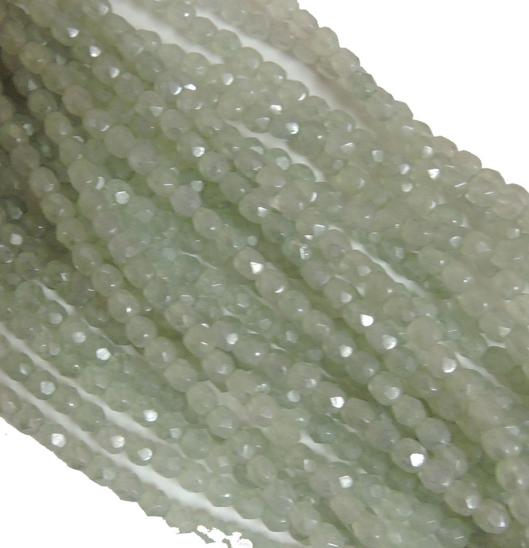 48 Firepolish Faceted Czech Glass Beads  4mm Luster Stone Green S1-04-64454