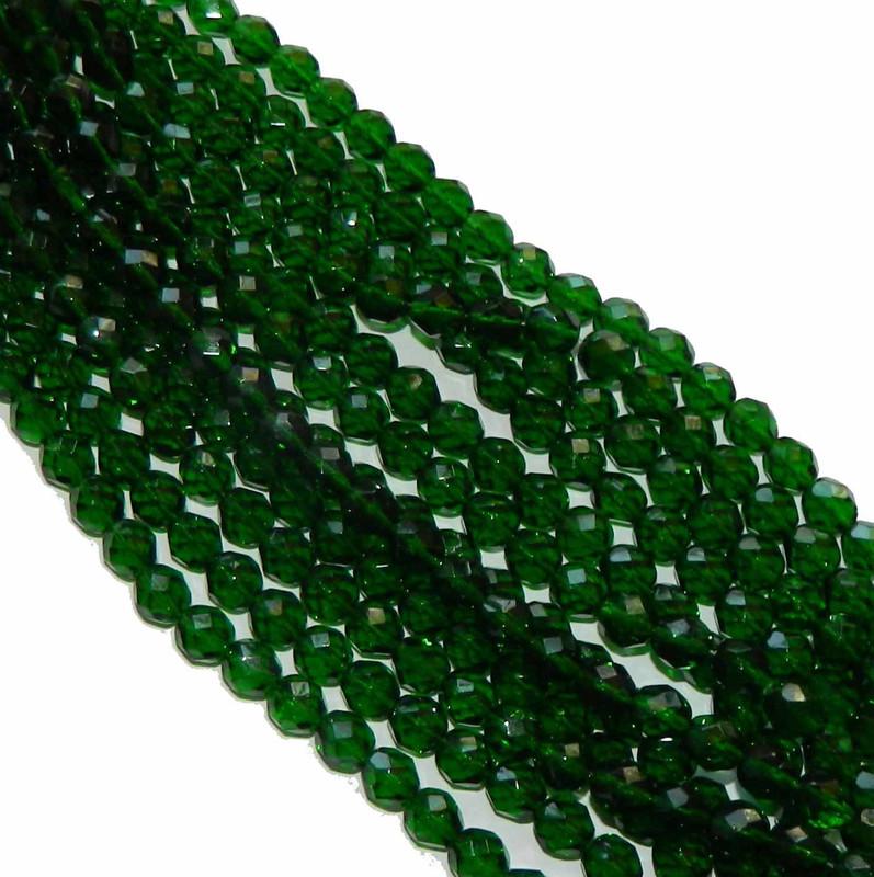 48 Firepolish Faceted Czech Glass Beads  4mm Green Emerald