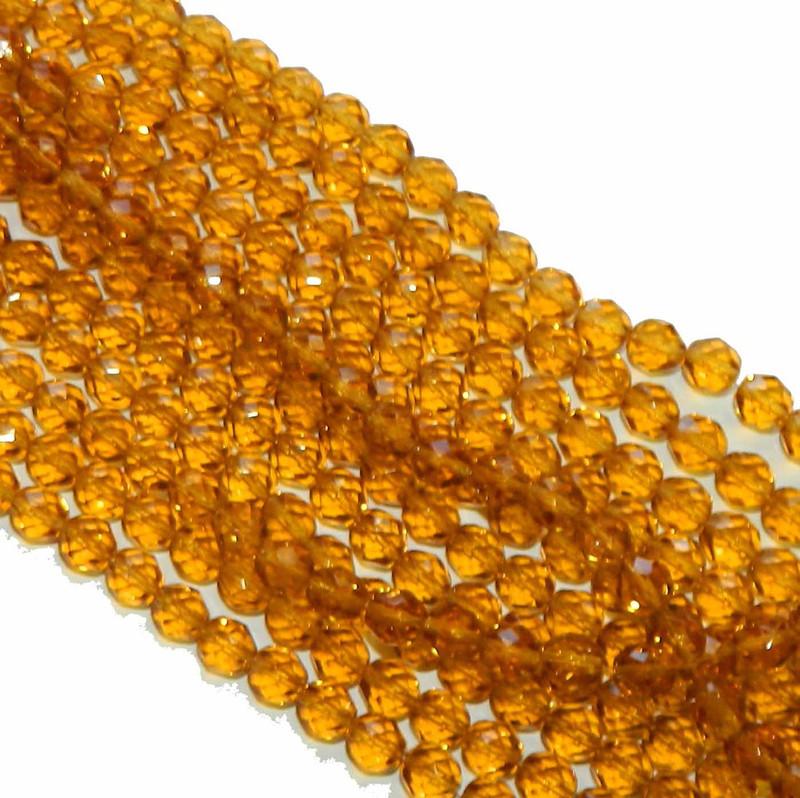 48 Firepolish Faceted Czech Glass Beads 4mm Dark Topaz