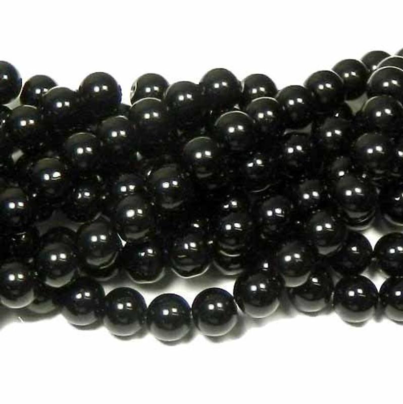 "12mm Synthetic Black Onyx Round Hardened Glass Beads 40cm 15"" Strand"