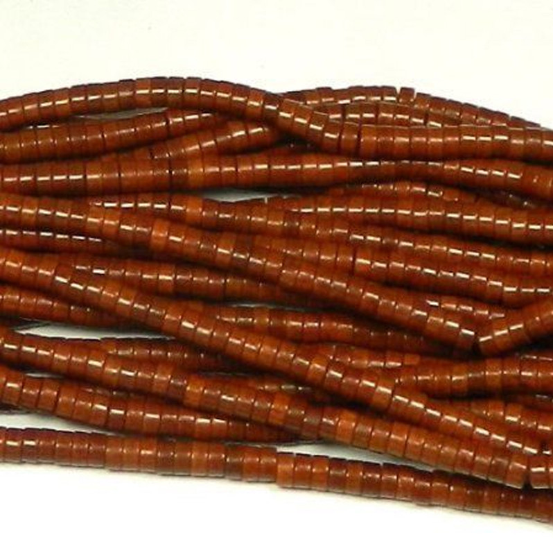 """4mm Heishi Chalk Turquoise Dyed Coffee Brown Beads 15"""""""