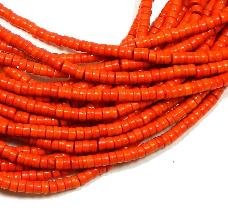 """4mm Heishi Chalk Turquoise Dyed Orange Beads 15"""""""