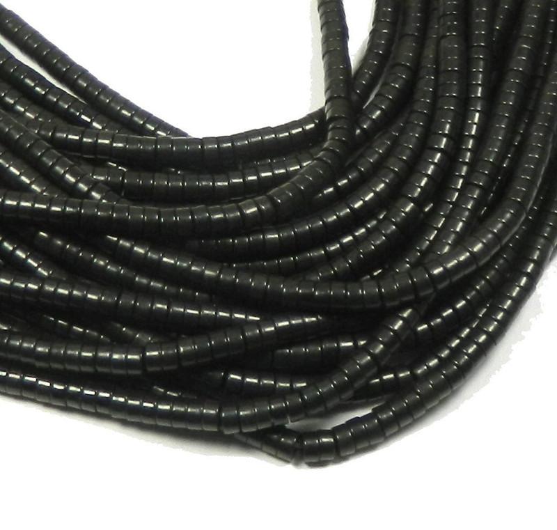 "4mm Heishi Chalk Turquoise Dyed Black Beads 15"""