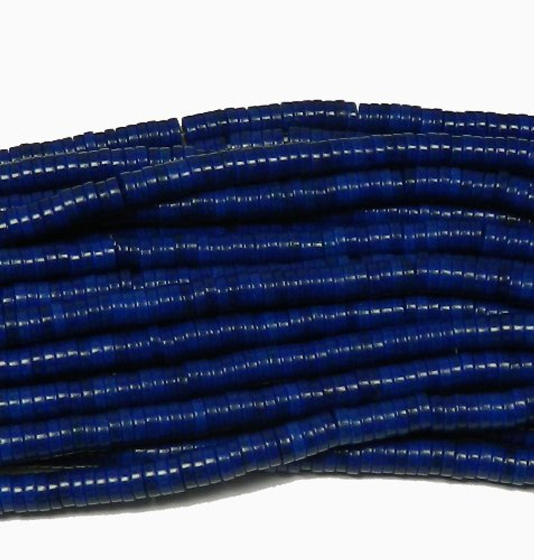 "4mm Heishi Chalk Turquoise Dyed Lapis Blue  Beads 15"""