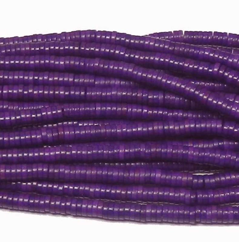 "4mm Heishi Chalk Turquoise Dyed Purple Beads 15"""