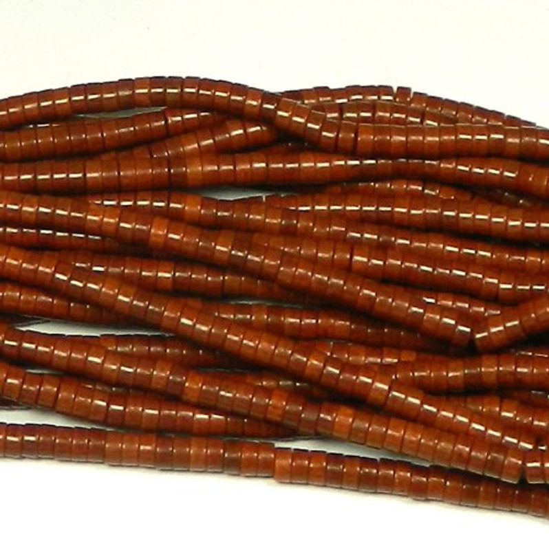 """6mm Heishi Chalk Turquoise Dyed Coffee Brown  Beads 15"""""""