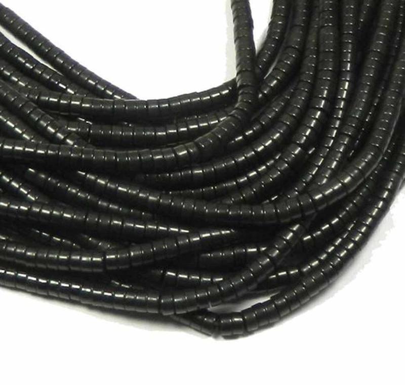 "6mm Heishi Chalk Turquoise Dyed Black  Beads 15"" Loose Strand"