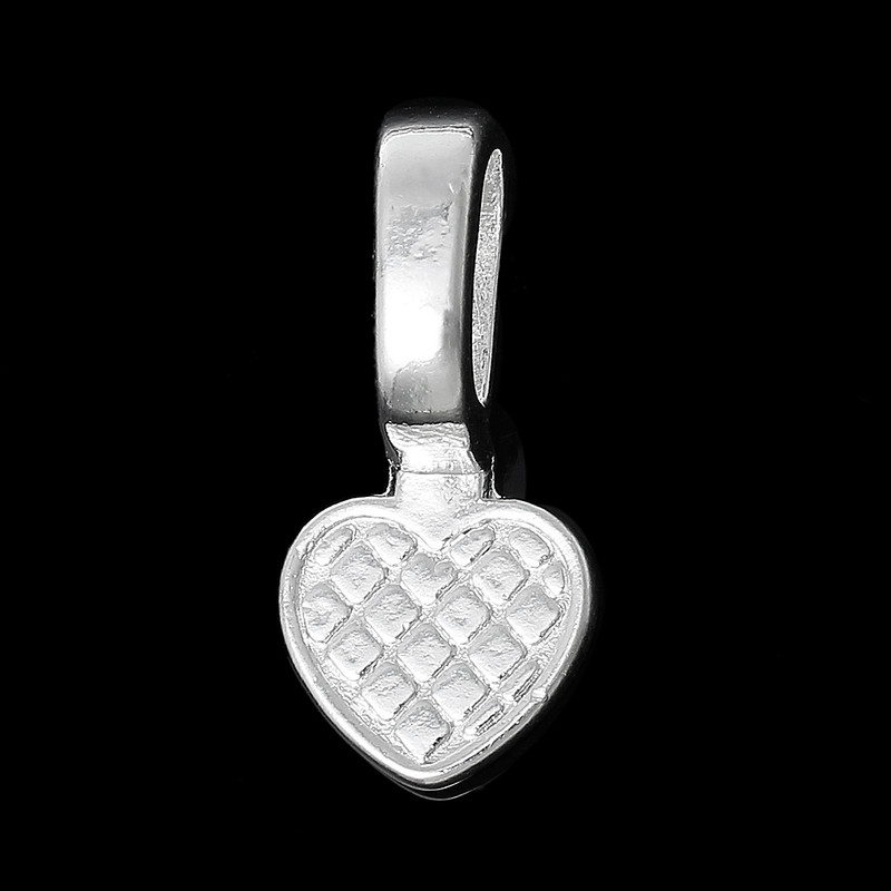 50 Glue on Heart Bails Pendant Hanger Silver Plated 22x16mm RB61812