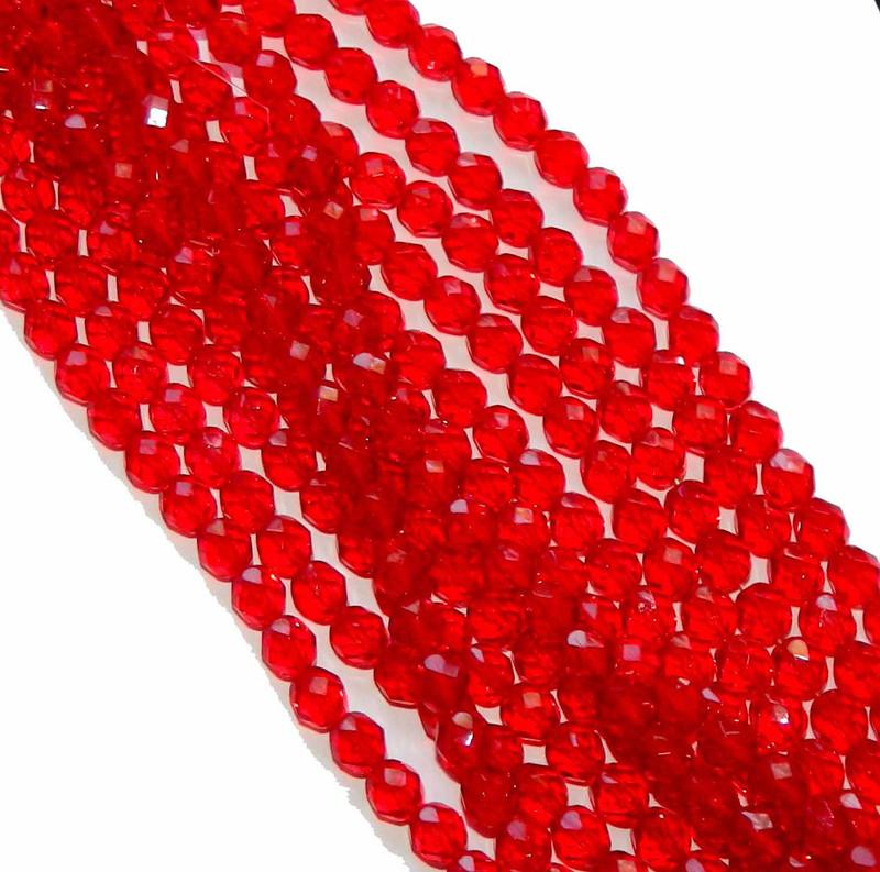 48 Firepolish Faceted Czech Glass Beads 4mm Light Siam