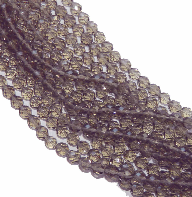 48 Firepolish Faceted Czech Glass Beads 4mm Black Diamond