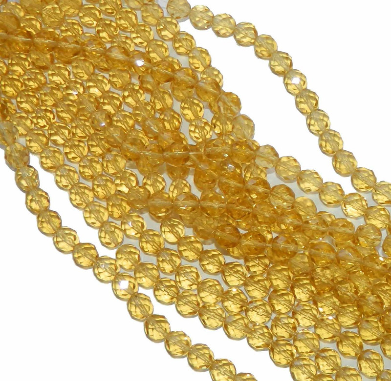 24 Firepolish Faceted Czech Glass Beads 8mm Light Topaz