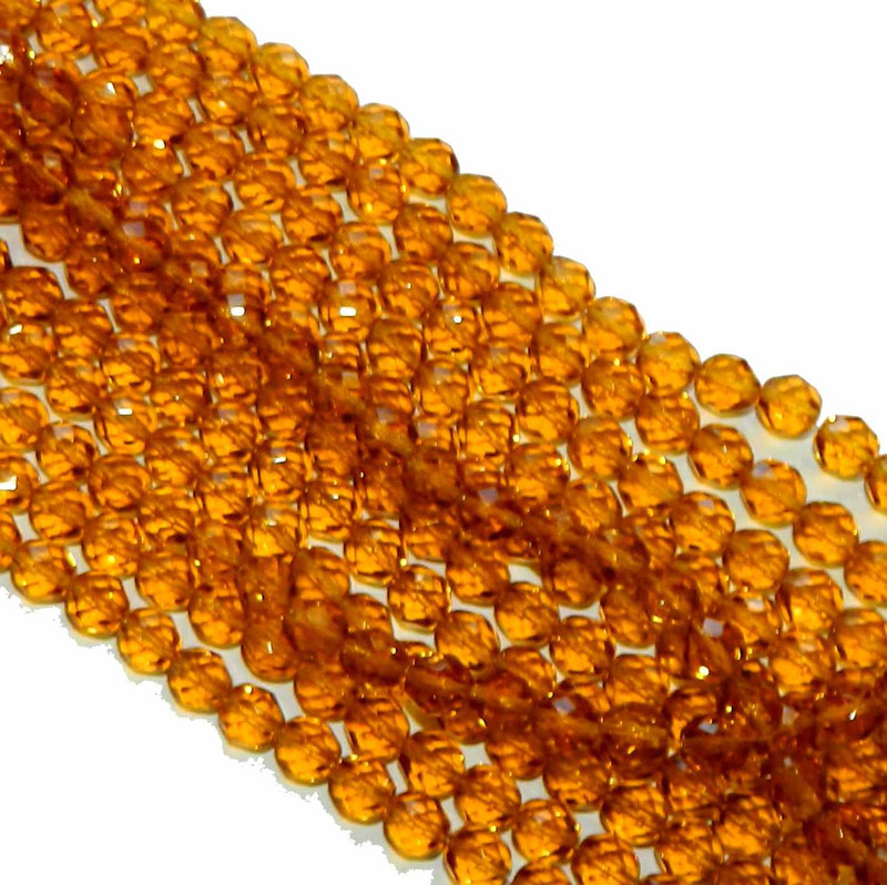 24 Firepolish Faceted Czech Glass Beads 6mm Dark Topaz S1-06-1009