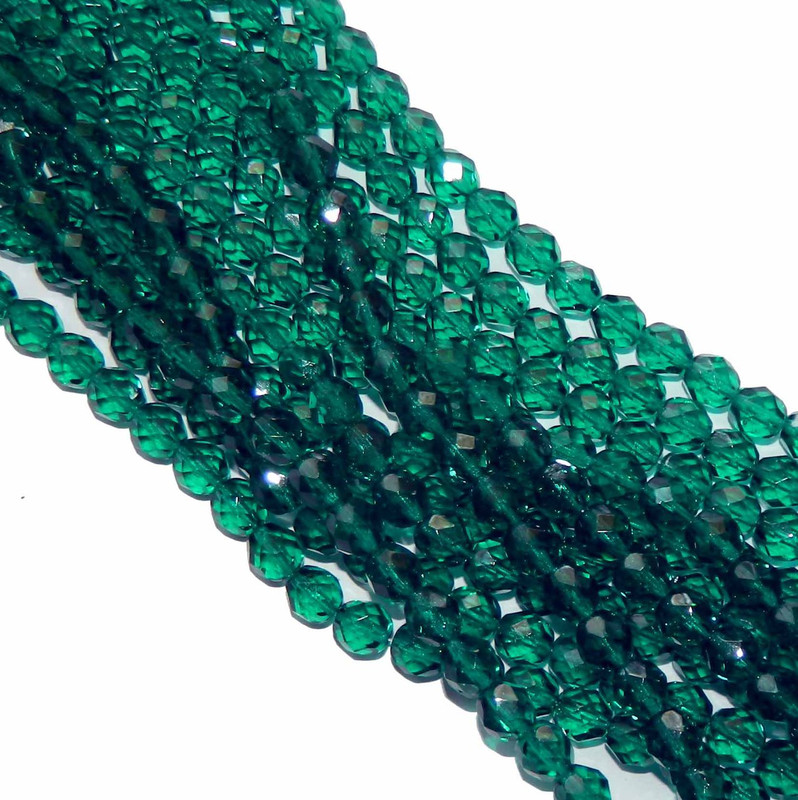 48 Firepolish Faceted Czech Glass Beads 4mm Emerald