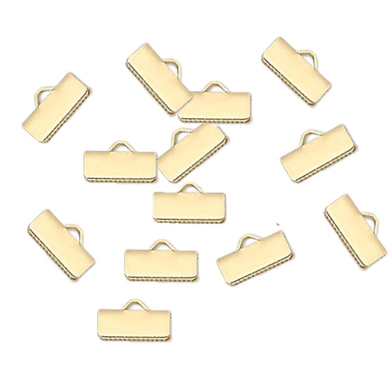 13x5mm Smooth 48pc Gold Plated Brass Ribbon Bracelet Bookmark Pinch Crimp H20-4518FD