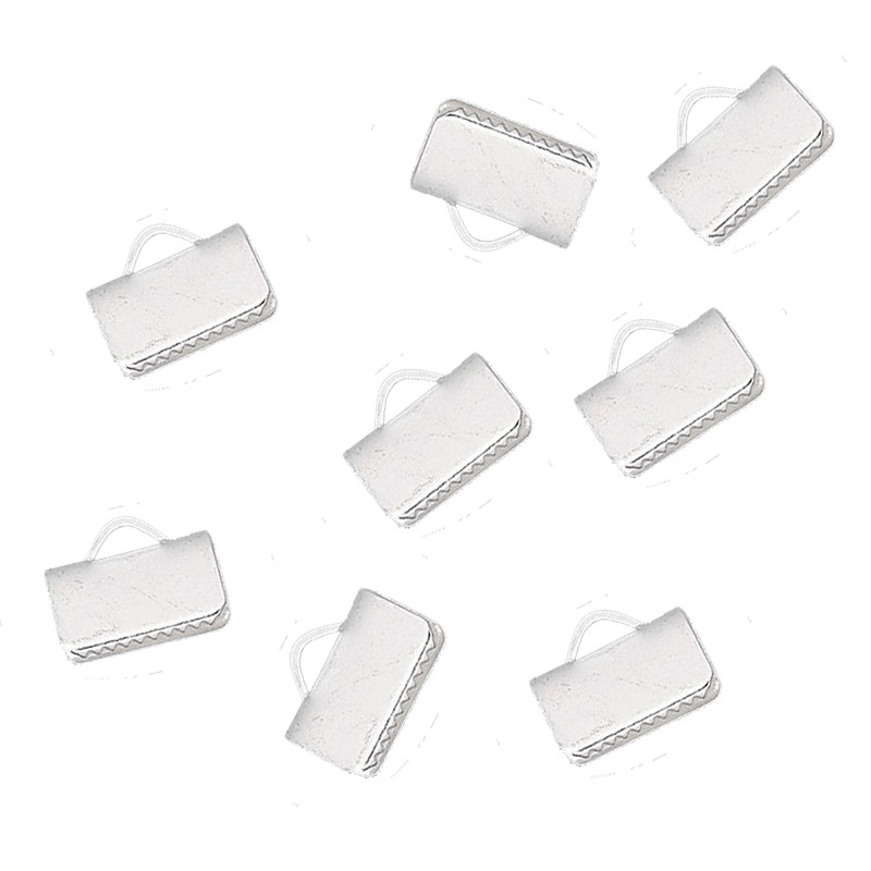 10x5mm Silver Plated Brass Smooth Ribbon crimp 48pc H20-4512FD