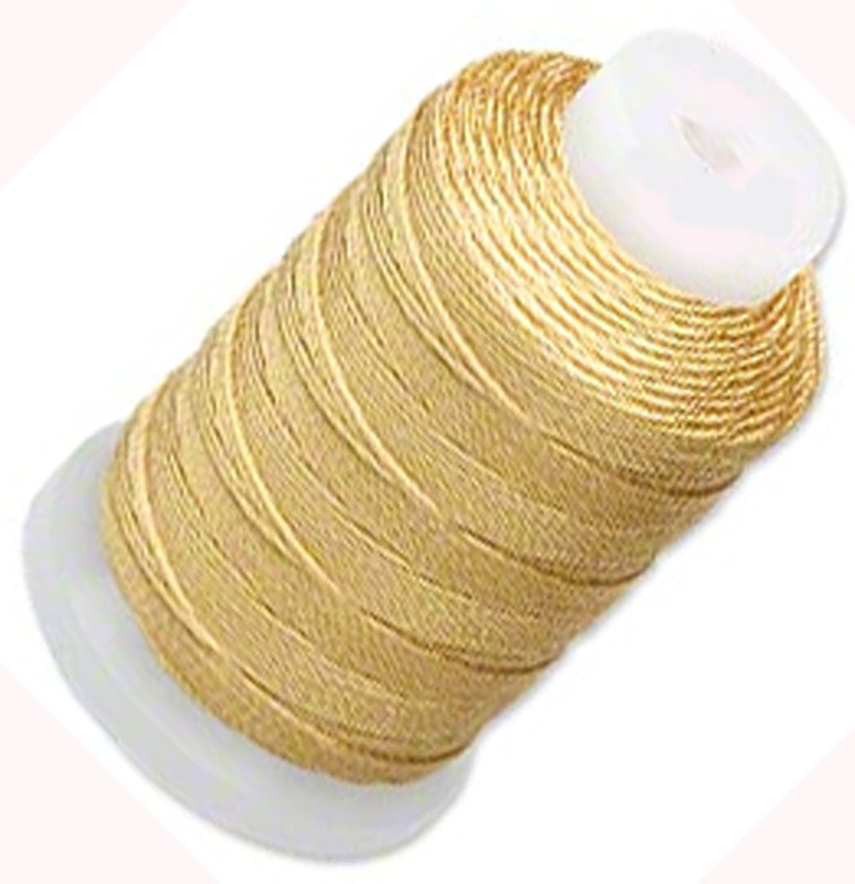 Simply Silk Beading Thread Cord Size FF Dark Gold 0.015 Inch 0.38mm Spool 115 Yards for Stringing Weaving Knotting 5065BS
