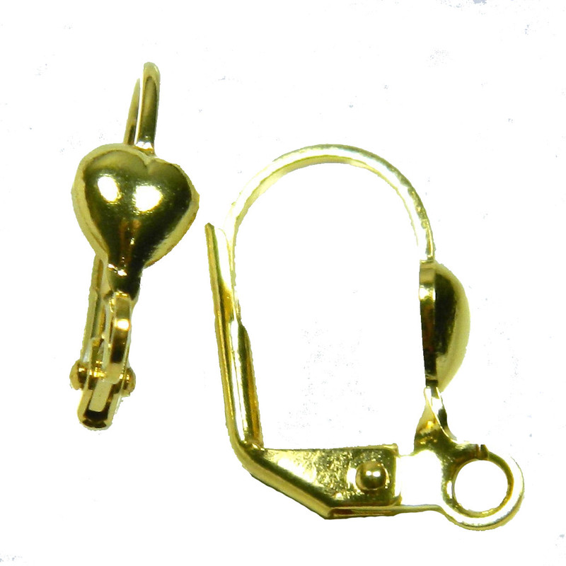 48 Leaver Back Gold-plated Brass 16mm Leverback 5x5mm Heart Open Loop 24 Pairs 1522FN
