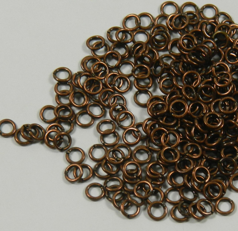 100 Jump Rings, Antiqued Copper-plated Brass, 5mm Round, 19 Gauge Open