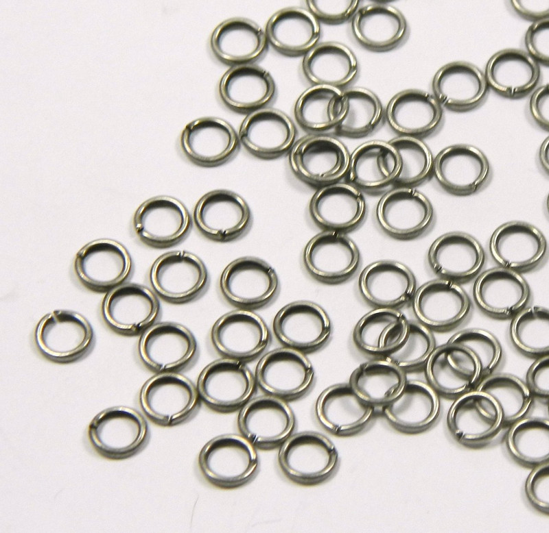 100 Jump Rings, Antiqued Silver-plated Brass 5mm Round, Aproximatly 19 Gauge Open