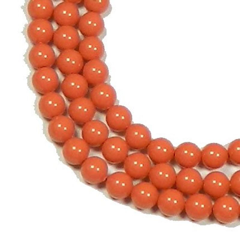 "100 Swarovski Crystal Pearls 4mm Round Beads 5810. 16"" Loose Strand Coral 581004COR"