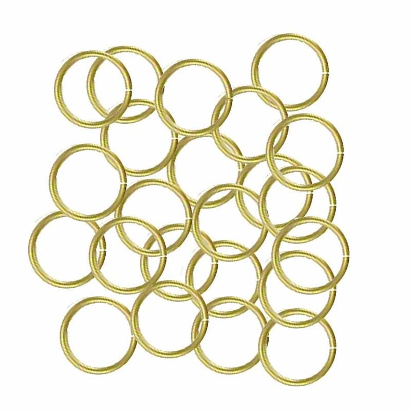 100 Jump Rings, Brass, 8mm Round, 20 Gauge Open
