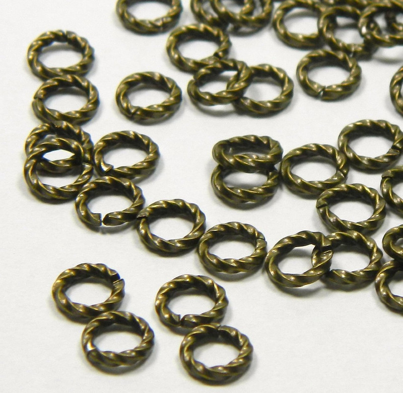 100 Jump Rings, Antiqued Gold-plated Brass, 6mm Twisted Round, 16 Gauge Open