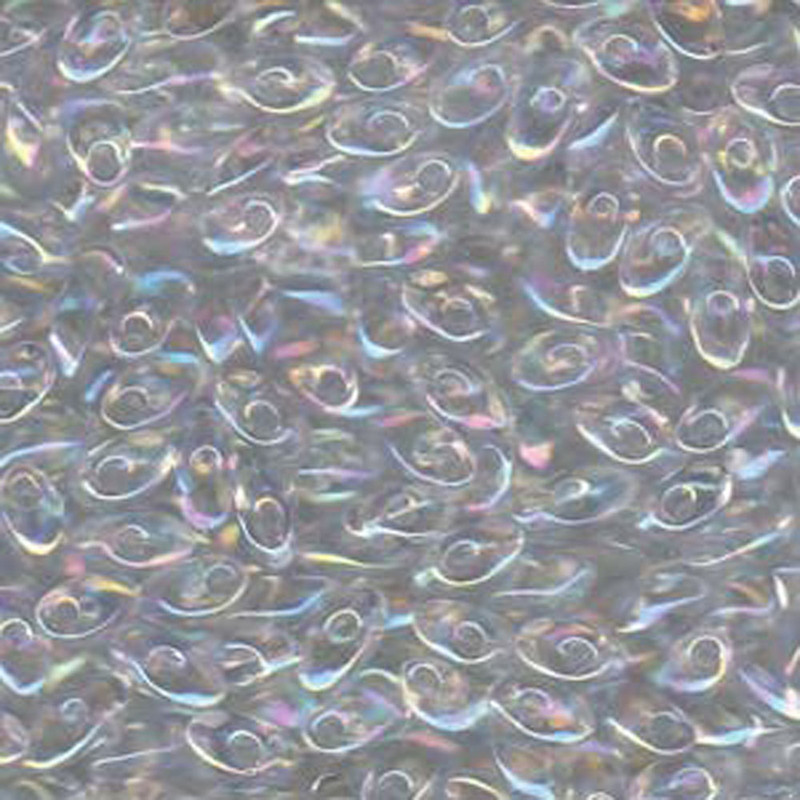 100 grams Clear Rainbow Ab 4x7mm Miyuki Long Magatama Glass Fringe Beads LMA-250