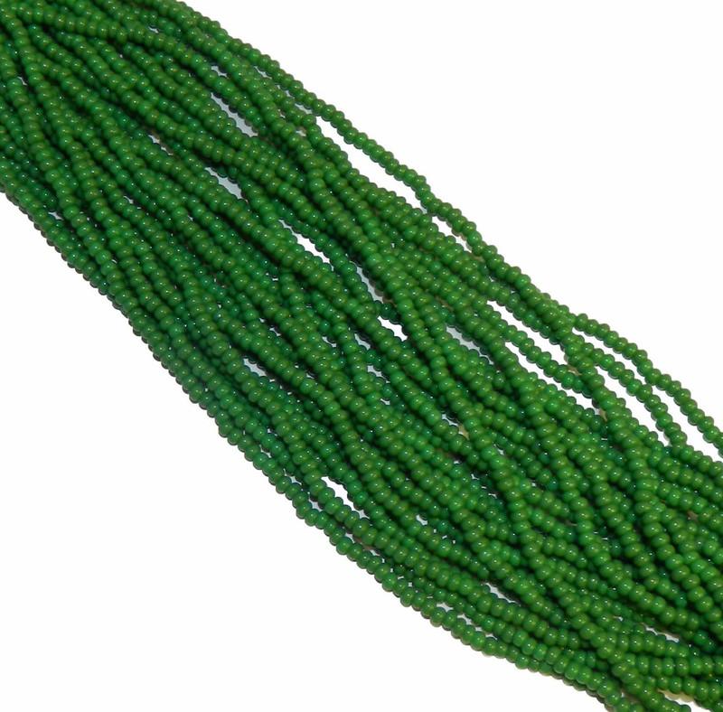 Green Opaque Czech 8/0 Glass Seed Beads 12 Strand Hank Preciosa