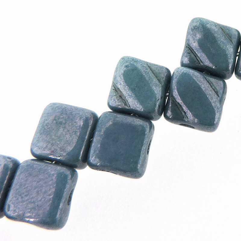 Blue Luster 6mm Diamond Glass Czech Two Hole Tile Bead 40 Beads