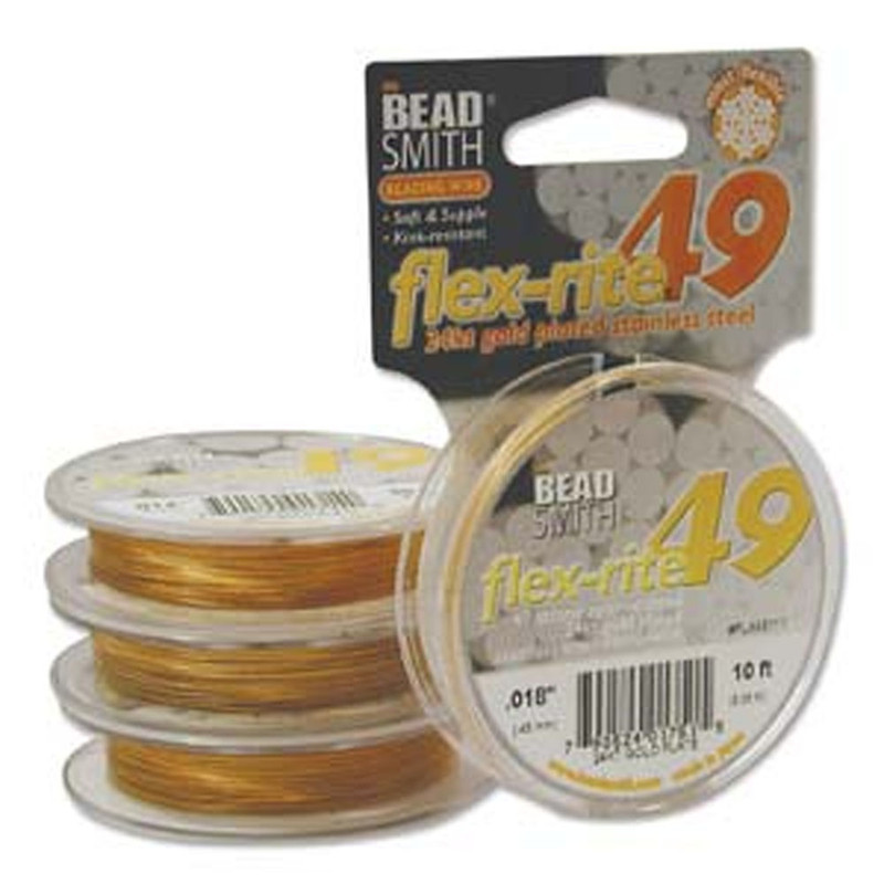 """24kt Gold Plated Stainless Steel Flex Rite Beading Stringing Wire .018"""" 10' 49 St"""