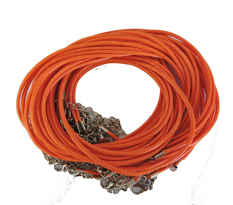 "18 Imitation Leather Cord Necklaces Orange 18"" Lobster Claw Clasp"