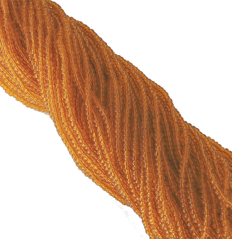 Light Orange Transparent Czech 8/0 Glass Seed Beads 12 Strand Hank Preciosa