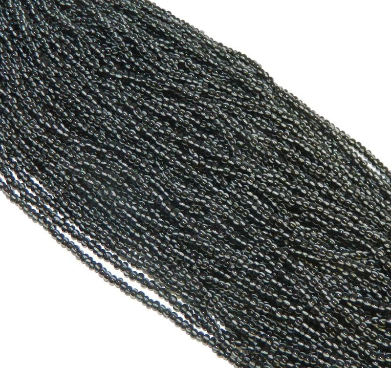 White on Black Stripes Opaque Czech 8/0 Glass Seed Beads 1 Full 12 Strand Hank Preciosa Jablonex