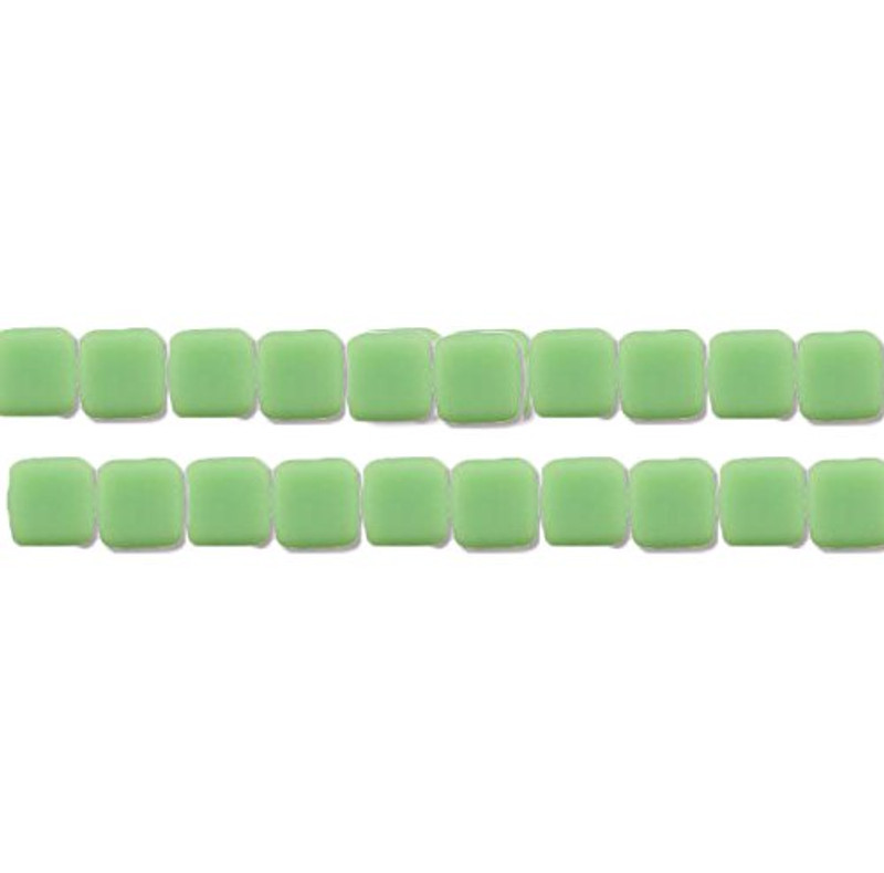 Opaque Honey Dew 6mm Square Glass Czech Two Hole Tile Bead 25 Beads