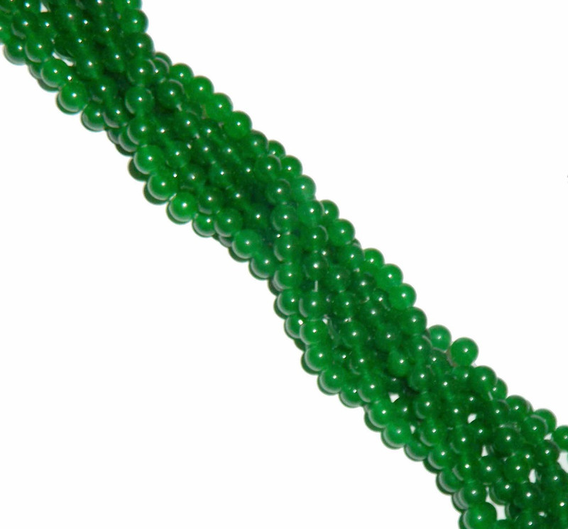 "8mm Jade Dyed Green Round Beads 40cm 15"" Gemstone"