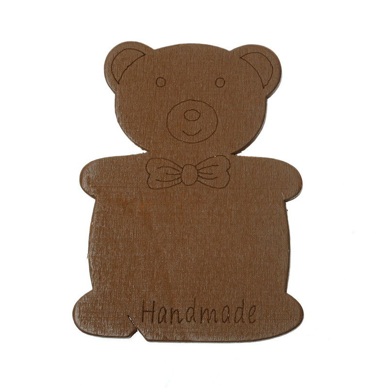 10 Wood Floss Bobbin Teddy Bear Thread Cards