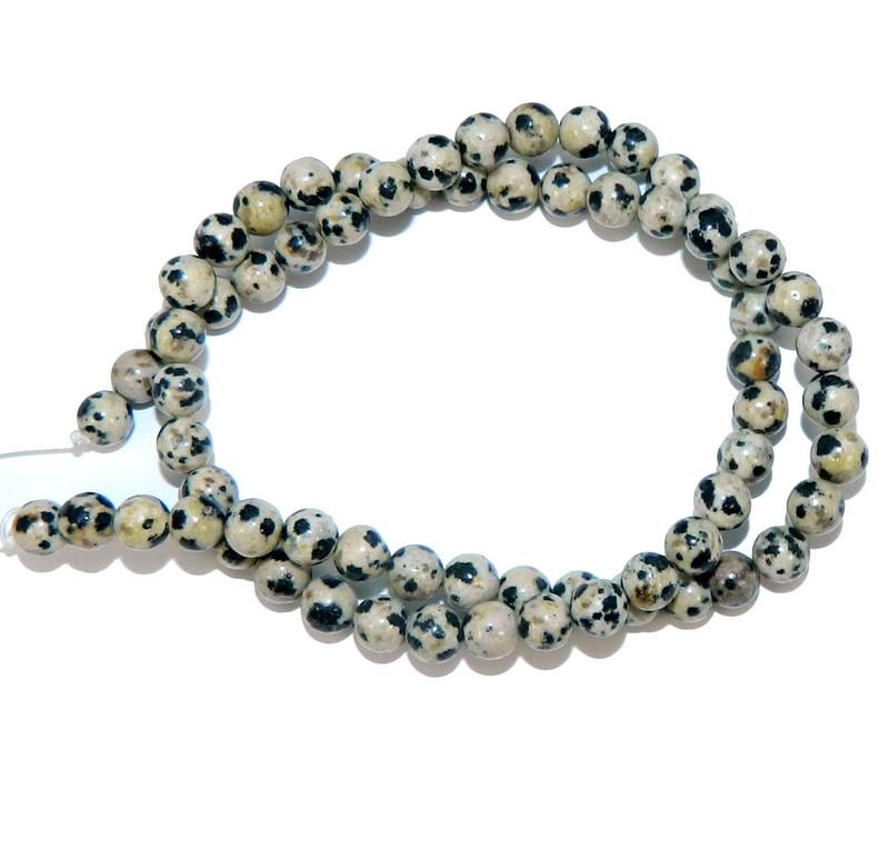 "4mm Dalmatian Japer Natural  Round Beads 40cm 15""  Stone"