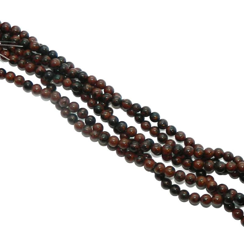 "4mm Mahogany Obsidian Natural  Round Beads 40cm 15""  Stone"