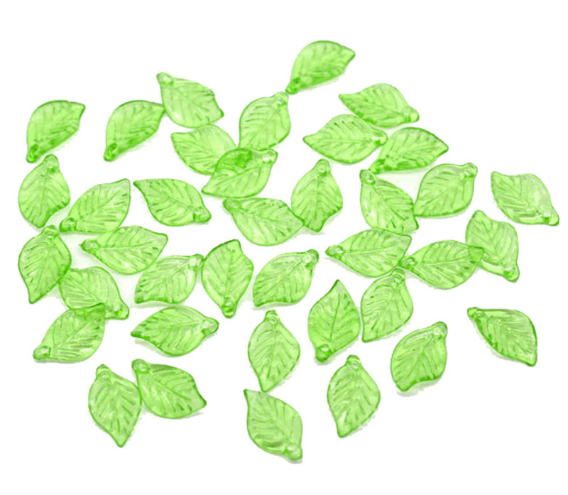 450 Green Leaf Acrylic Beads Bead 18x11mm Approx 3/4 Inch RB09586