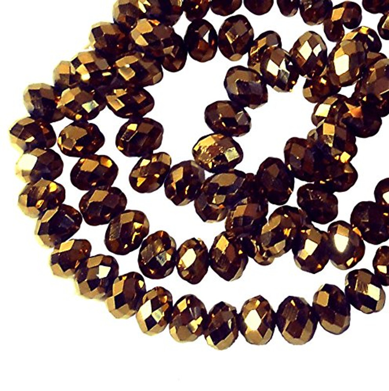 Metallic Golden Copper Faceted 6mm Rondelle Beads 90 Piece Luster Glass Crystal Beads