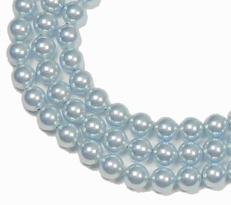 "100 Swarovski Crystal Pearls 4mm Round Beads 5810. 16"" Loose Strand Light Blue 581004BLLT"