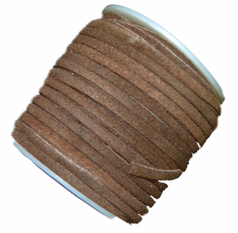 Brown 4mm Flat Suede Lace Leather Cord 25 Yard Spool 4x1.5mm