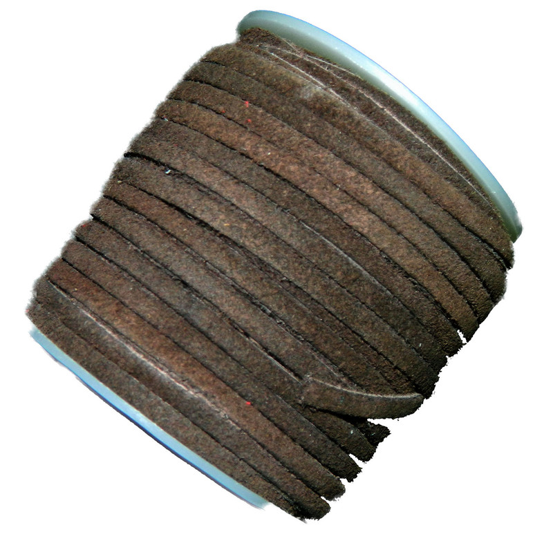Chocolate Brown 4mm Flat Suede Lace Leather Cord 25 Yard Spool 4x1.5mm BA-SLC-10